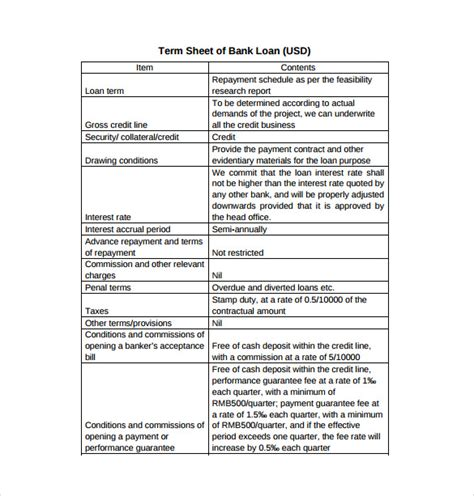 term loan template 13 term sheet template free word pdf documents