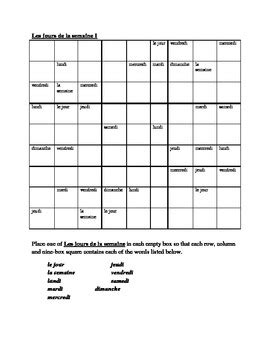 printable sudoku topical jours de la semaine days of the week in french sudoku by