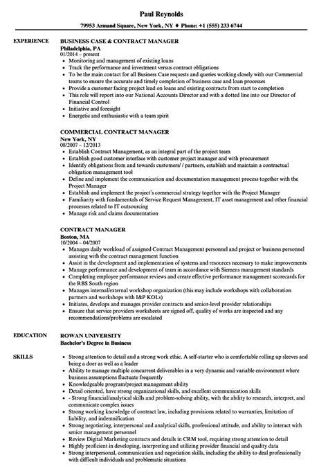 contract manager resume sles velvet