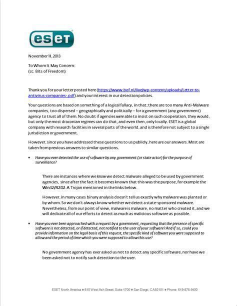 Response Letter To Government Agency Eset Detection Policy Response To Bits Of Freedom Open Letter