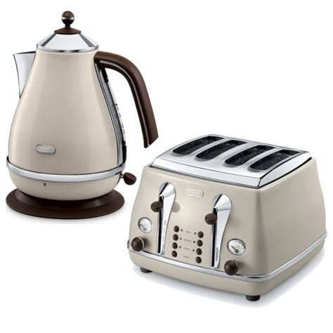 delonghi icona vintage kettle toaster set kbov3001bg ctov4003bg retro set beige