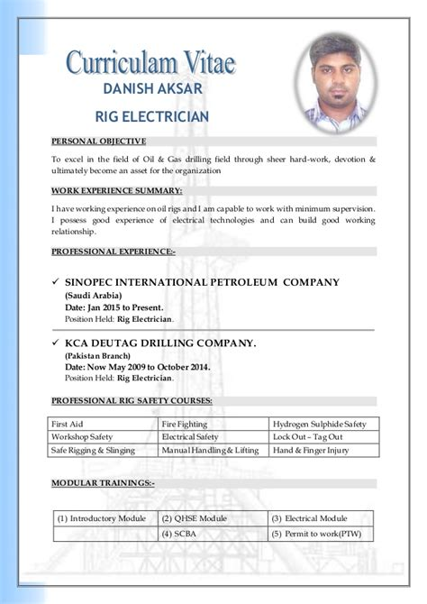 Cv Document Exle by Cv Electrician