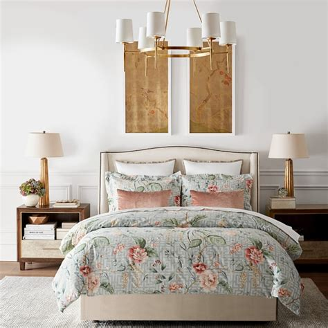 william sonoma bedding greek key floral printed bedding williams sonoma