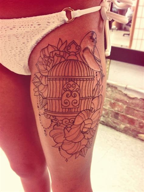 beautiful thigh tattoos my new bird cage tattoos a well