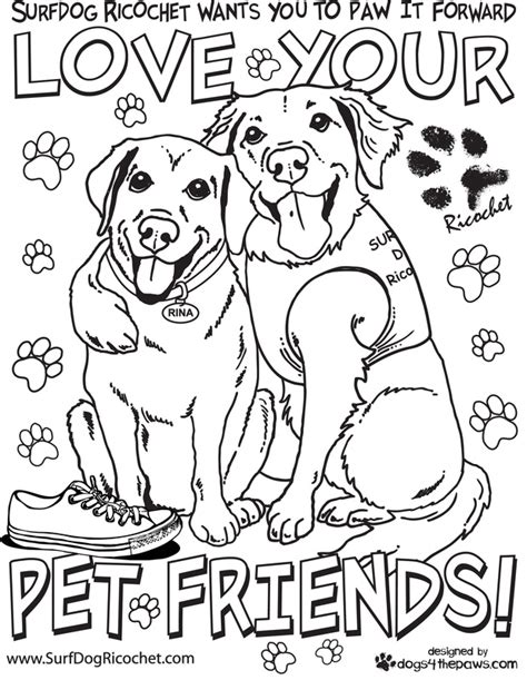 coloring pages of service dogs therapy dog coloring pages