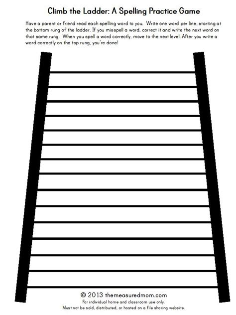 printable word ladder games climb the ladder a printable spelling game for any word
