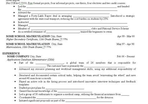 a run prototype of my mba resume
