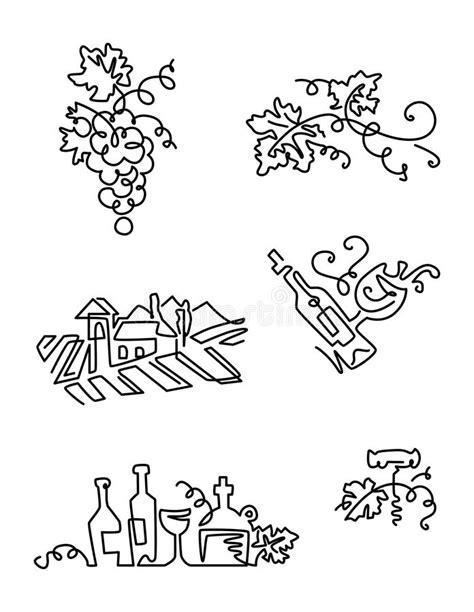 Garrafa Do Vinho E Do Vinhedo Ilustração do Vetor