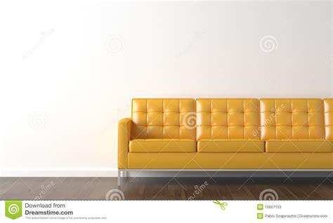 Living Room Background Stock Images Sof 225 Amarelo Na Parede Branca Fotos De Stock Imagem