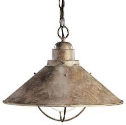 rustic pendant lighting for kitchen kichler seaside unique pendant light fixture in olde brick