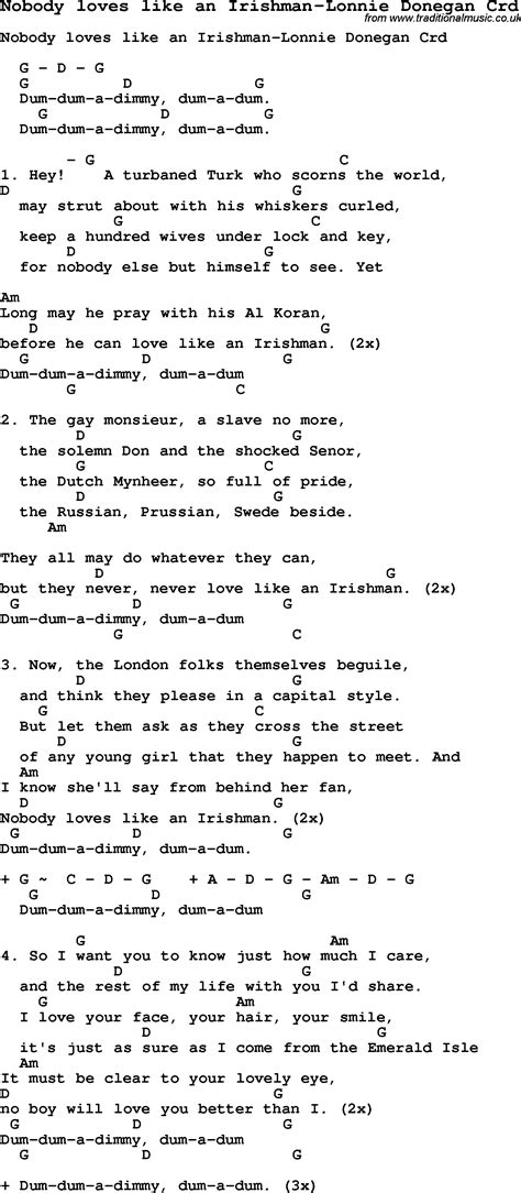skiffle lyrics for nobody like an irishman lonnie