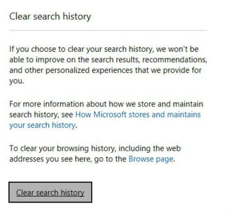 browser history delete bing how to clear search history of cortana and bing in windows