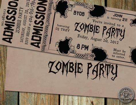 printable zombie birthday party invitations zombie birthday party ticket invitation with by