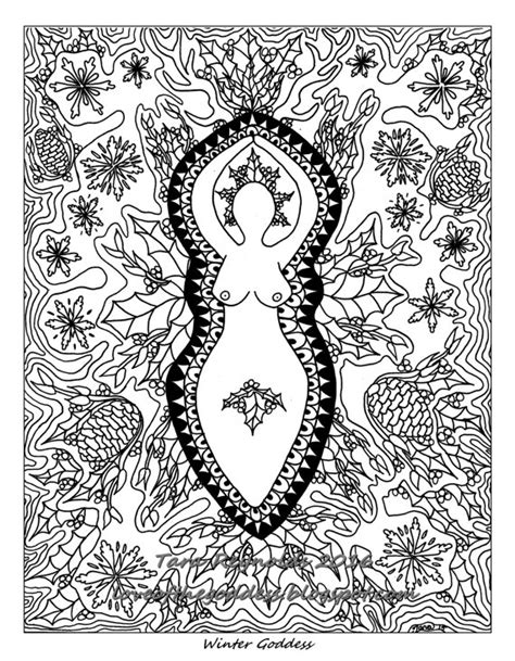 Winter Solstice Coloring Pages Winter Solstice Coloring Page By Goddessmandala On Etsy