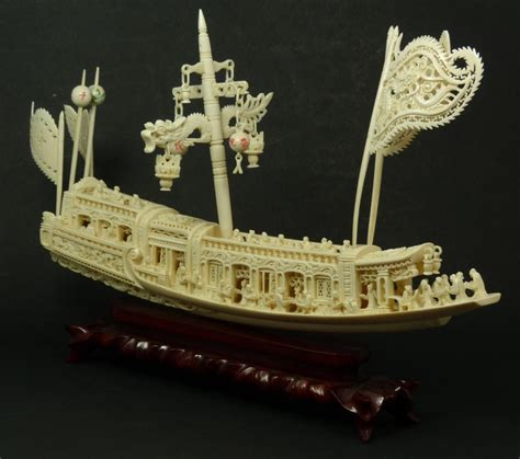 hand carved boat large chinese hand carved ivory junk boat need