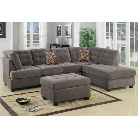 poundex bobkona fairfax waffle suede sectional sofa in