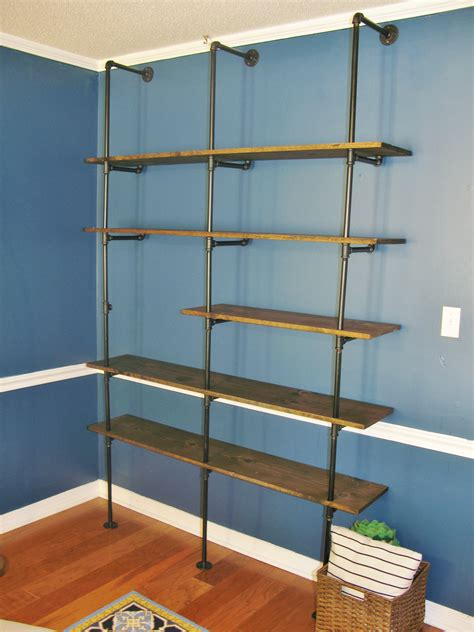 diy industrial pipe bookshelf brass peacock