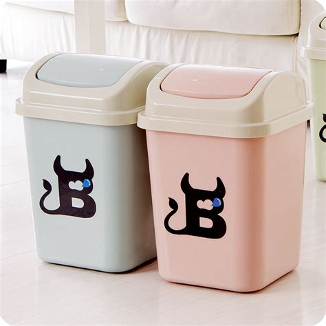 Cute Plastic Trash Cans Rocking Cover Type Kitchen Kitchen Decorative Kitchen Trash Cans
