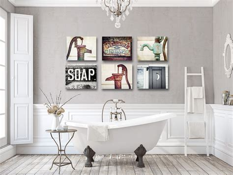 rustic bathroom decor set of 4 prints or canvas art bathroom rustic bathroom print or canvas set of 6 lisa russo fine