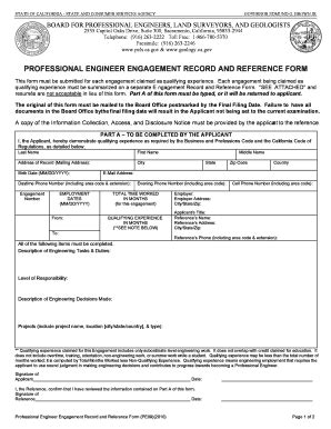 of engagement document template professional engineer engagement record and reference form