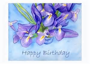Vase Of Irises Happy Birthday Iris Flowers Art