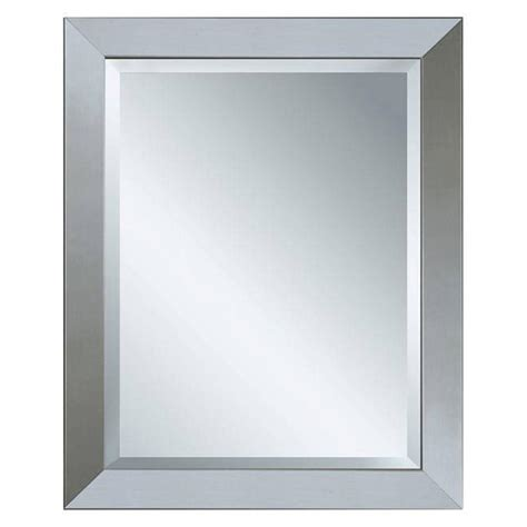 Brushed Nickel Framed Bathroom Mirror by Deco Mirror 44 In X 34 In Modern Wall Mirror In Brushed Nickel 6242 The Home Depot