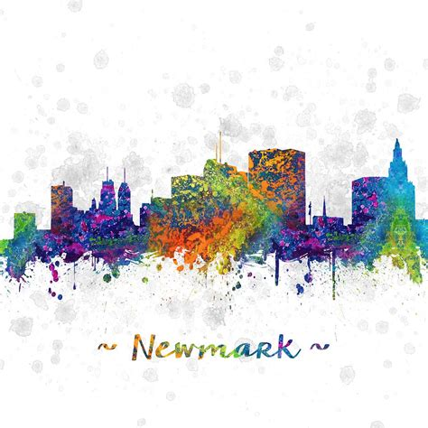 new jersey colors newark new jersey skyline color 03sq digital by aged pixel