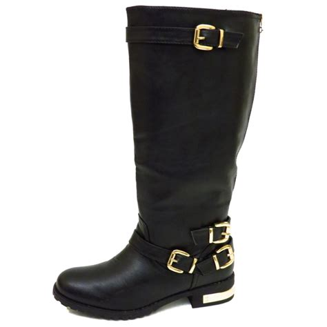 ebay womans boots womens wide fit flat black knee high zip biker calf