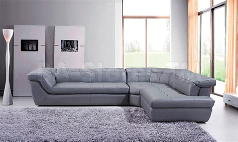 Grey Sectional Sofa With Chaise 397 Modern Grey Italian Leather Sectional Sofa With Right Chaise By J M Sectional Sofas By J M