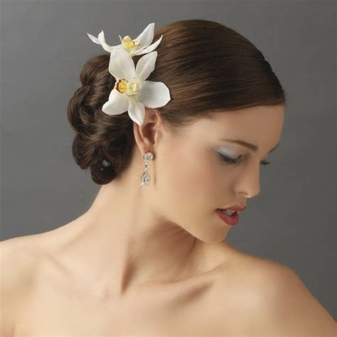 wedding hair flowers pins orchid floral hair clip pin bridal hair