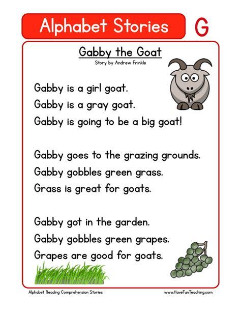 printable alphabet stories reading comprehension worksheet gabby the goat