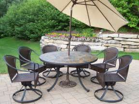 Outdoor Patio Dining Sets With Umbrella Oakland Living 9 Pc Patio Dining Set W 54 Quot Topped Table Wicker Swivel Chairs Umbrella