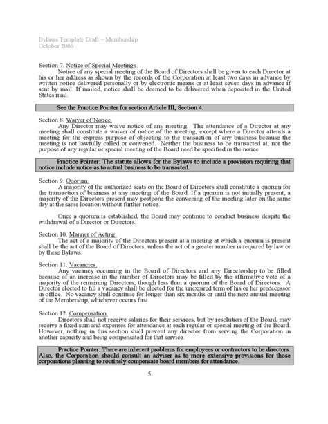 Bylaws Template Sle Free Download S Corporation Bylaws Template Free