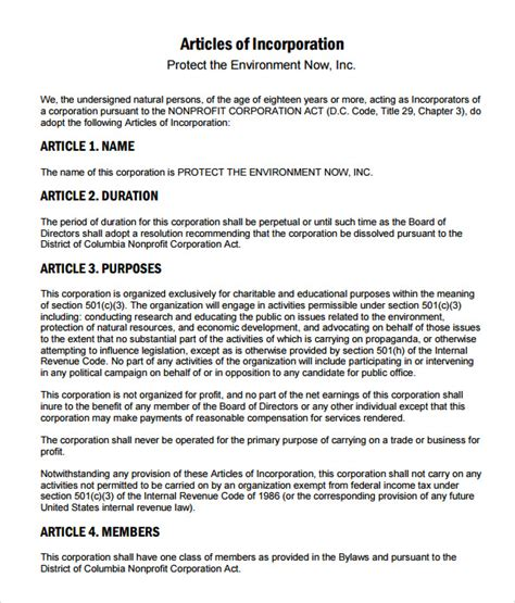 free article of incorporation template articles of incorporation template 8 documents