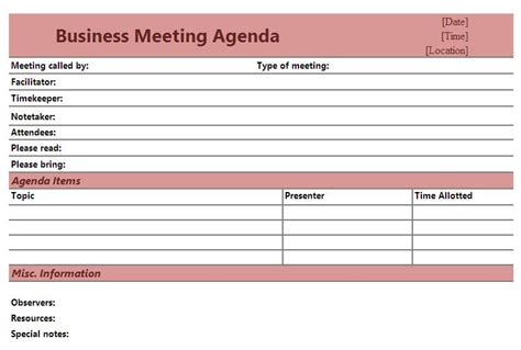 church business meeting agenda template images