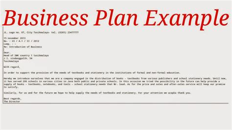 business plan exle sles business letters