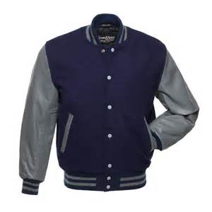 navy blue wool and grey leather letterman jacket c139