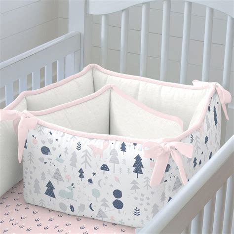 Pink And Navy Baby Woodland Crib Bumper Carousel Designs Baby Bumpers For Crib