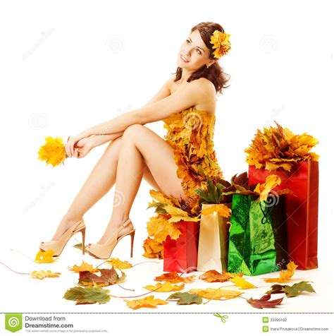 45215 White Autumn Leaves S M L Dress Le180118 Import autumn shopping bags with yellow maple leaves stock photography image 33395102