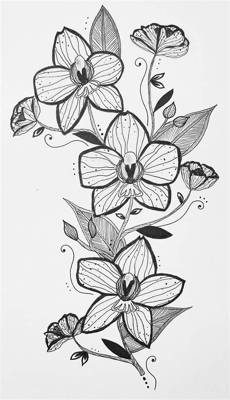 feminine flower tattoo designs floral orchid design illustration feminine shoulder