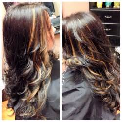 peek a boo hair color ideas chocolate brown highlights and peek a boos on