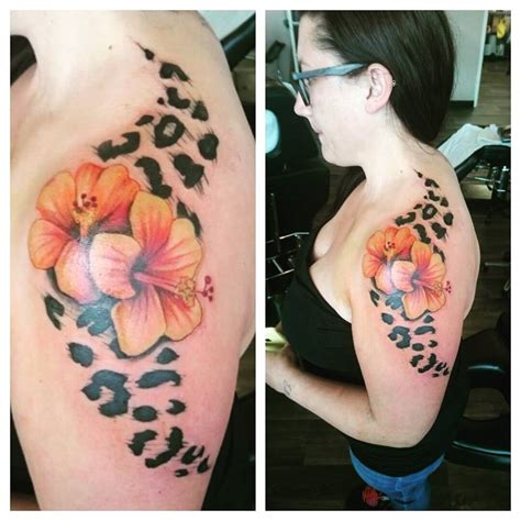 roses and leopard print tattoo leopard print hibiscus flowers colour black and