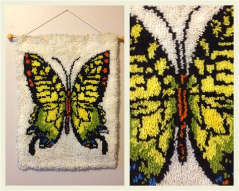 large butterfly rug items similar to vintage 1970s butterfly latch hook rug shag rug wall hanging handmade monarch