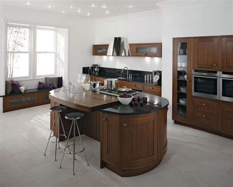 Black White Kitchen Island With Round Table Mixed Glass