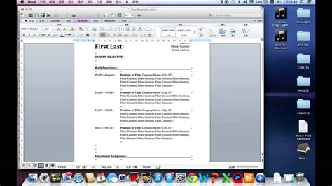 how to write a easy resume in word by mac