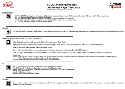 Fccla Planning Process Page Kms Fccla Fccla Planning Process Template