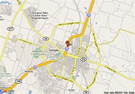 map temple texas map of econo lodge temple temple