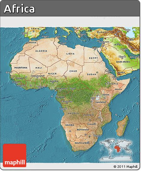 africa map sea free satellite 3d map of africa physical outside