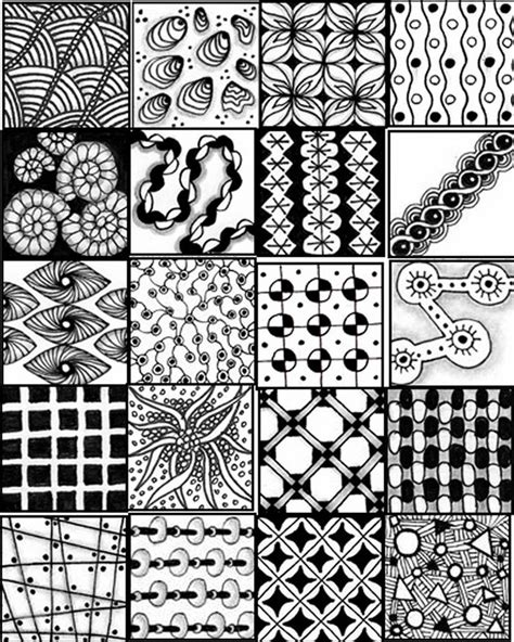 zentangle pattern reference printable sheets to serve as a quick reference for