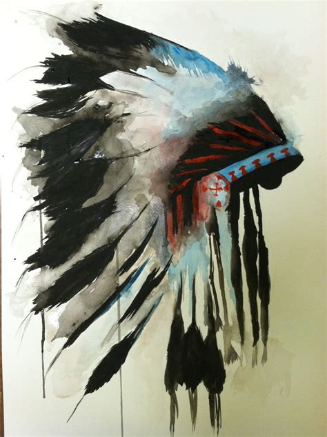 indian headdress tattoo watercolor indian chief headdress the board